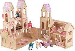 Замъкът на принцесата - Детска дървена играчка с аксесоари - играчка