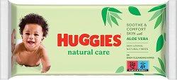 Huggies Natural Care Baby Wipes - Бебешки мокри кърпички с алое вера в опаковка от 56 броя - лосион