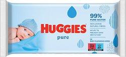Huggies Pure Baby Wipes - Бебешки мокри кърпички в опаковка от 56 броя -