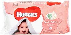 Huggies Skin Soft Baby Wipes - Бебешки мокри кърпички с витамин E в опаковка от 56 броя -