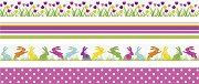 Декоративно тиксо - Лалета, точки, линии и зайци - Комплект от 4 броя