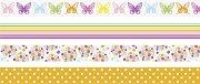 Декоративно тиксо - Пеперуди, цветя, точки и линии - Комплект от 4 броя