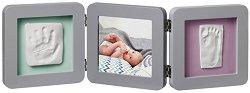 """Рамка за снимка и два отпечатъка - Baby Art: Grey - Комплект от серия """"Modern Trendy"""" -"""