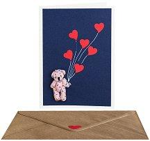 Поздравителна картичка - Мече с балони сърца -