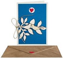 Поздравителна картичка - Птички на клонче -