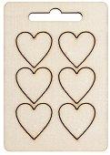 Фигурки от шперплат - Сърца - Комплект от 6 броя