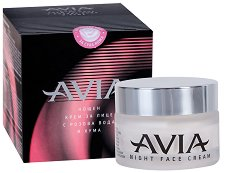 Avia Night Face Cream - Подхранващ нощен крем за лице с розова вода и хума - маска