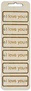 Табелки от шперплат - I love you - Комплект от 6 броя