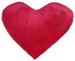 Плюшена възглавница - Сърце с цветя и камъчета -