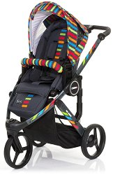 Комбинирана бебешка количка - Cobra Plus: Rainbow - С 3 колела -