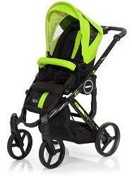 Комбинирана бебешка количка - Mamba Plus: Lime - С 4 колела -