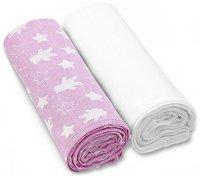Бебешки тензухени пелени - Bears and Stars: Pink - Комплект от 2 броя - продукт