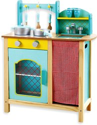 Детска кухня - Дървена играчка с аксесоари - образователен комплект