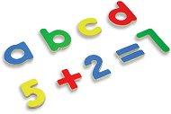 Дървени букви и цифри - Комплект образователни магнитни играчки -