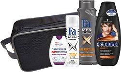 Подаръчен комплект за мъже с несесер - Fa Men Xtreme - Шампоан, душ гел, дозодорант и паста за зъби -