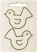 Фигурки от шперплат - Птици - Комплект от 2 броя с размери 5 x 4 cm
