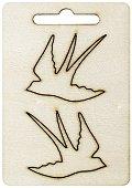 Фигурки от шперплат - Лястовици - Комплект от 2 броя с размери 3.5 x 4 cm