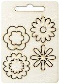 Фигурки от шперплат - Цветя - Комплект от 4 броя с диаметър 3 cm