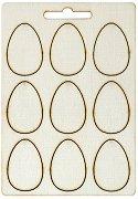 Фигурки от шперплат - Яйца - Комплект от 9 броя с размери 2 x 4 cm
