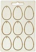 Фигурки от шперплат - Яйца с дупки - Комплект от 9 броя с размери 2 x 4 cm
