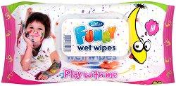 Детски мокри кърпички - Funny - Опаковка от 72 броя за момичета -