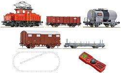 Товарен влак с електрически локомотив Ee3/3 - SBB - Дигитален стартов комплект с релси и дистанционно управление - макет