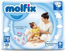 Molfix Jumbo 6 - Extra Large - Пелени за еднократна употреба за бебета с тегло над 15  kg -
