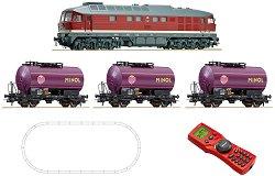 Товарен влак с дизелов локомотив DR 132 - DR - Дигитален стартов комплект с релси и дистанционно управление -