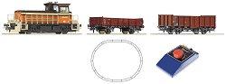 Товарен влак с дизелов локомотив Y8400 - SNCF - Аналогов стартов комплект с релси и дистанционно управление - макет