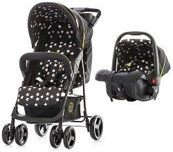 Бебешка количка 2 в 1 - Focus: Black - С 4 колела -