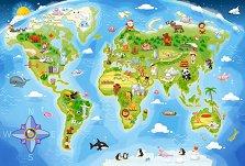 Карта на света - Пъзел с едри елементи - пъзел