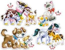 Животните и техните малки - Четири пъзела в нестандартна форма - пъзел