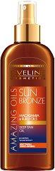 "Eveline Amazing Oils Sun Bronze Deep Tan - Олио за интензивен бронзов тен с макадамия и кукуи от серията ""Sun Care"" - олио"