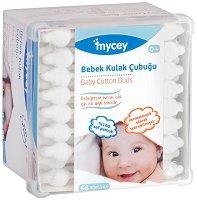 Бебешки клечки за уши - Опаковка от 56 броя - крем
