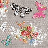 Салфетки за декупаж - Пеперуди и цветя - Пакет от 20 броя