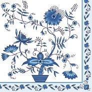 Салфетки за декупаж - Сини цветя - Пакет от 20 броя
