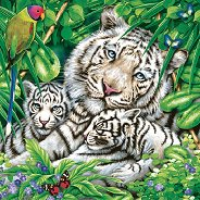 Салфетки за декупаж - Бели тигри - Пакет от 20 броя