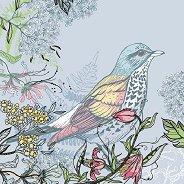Салфетки за декупаж - Птица с флорални мотиви - Пакет от 20 броя