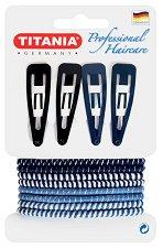 """Аксесоари за коса - Комплект от 4 фиби и 8 ластика за коса от серията """"Hair Care"""" - лосион"""