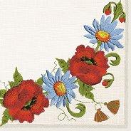 Салфетки за декупаж - Бродирани цветя - Пакет от 20 броя