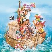 Салфетки за декупаж - Мечета пирати - Пакет от 20 броя