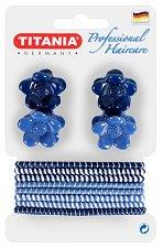 """Аксесоари за коса - Комплект от 4 щипки и 8 ластика за коса от серията """"Hair Care"""" -"""