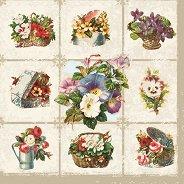 Салфетки за декупаж - Декоративни цветя - Пакет от 20 броя