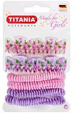 """Детски аксесоари за коса  - Комплект от 4 щипки и 4 ластика за коса от серията """"Girls Care"""" - ластик"""