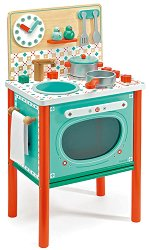 Детска кухня - Лео - Комплект от дърво с аксесоари -
