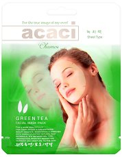 """Chamos Acaci Green Tea Facial Mask - Хидратираща маска за лице със зелен чай от серията """"Acaci"""" - сенки"""
