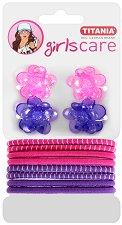 """Детски аксесоари за коса - Комплект от 4 щипки и 8 ластика за коса от серията """"Girls Care"""" -"""
