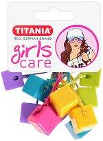 """Ластици за коса с кубчета - Комплект от 5 броя от серията """"Girls Care"""" - четка"""