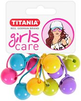 """Ластици за коса с топчета - Комплект от 5 броя от серията """"Girls Care"""" -"""