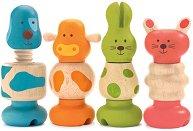 Животни - Детски дървени играчки с елементи за навиване -